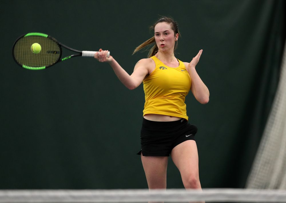 Iowa's Samantha Mannix against the Iowa State Cyclones Friday, February 8, 2019 at the Hawkeye Tennis and Recreation Complex. (Brian Ray/hawkeyesports.com)