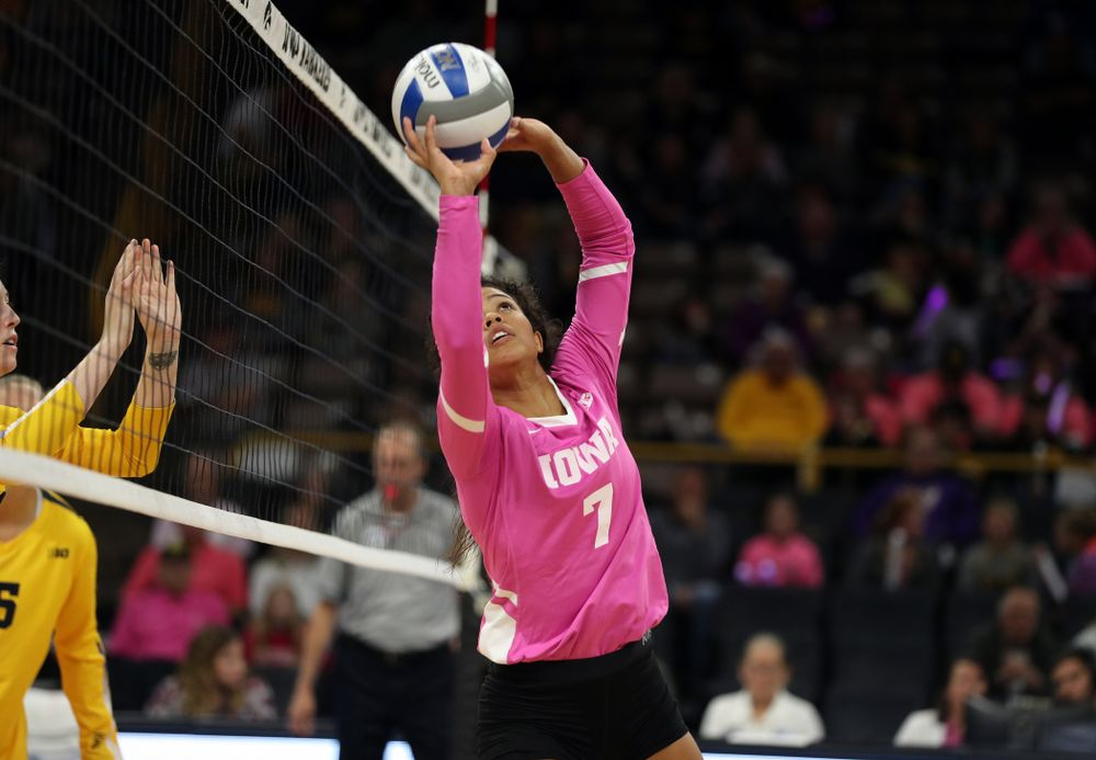 Iowa Hawkeyes setter Brie Orr (7) against the Michigan Wolverines Friday, October 11, 2019 at Carver-Hawkeye Arena.(Brian Ray/hawkeyesports.com)