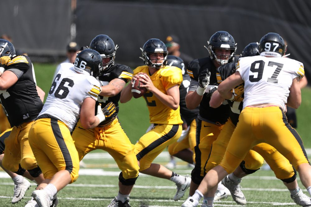 Iowa Hawkeyes quarterback Peyton Mansell (2) during Fall Camp Practice No. 5 Tuesday, August 6, 2019 at the Ronald D. and Margaret L. Kenyon Football Practice Facility. (Brian Ray/hawkeyesports.com)