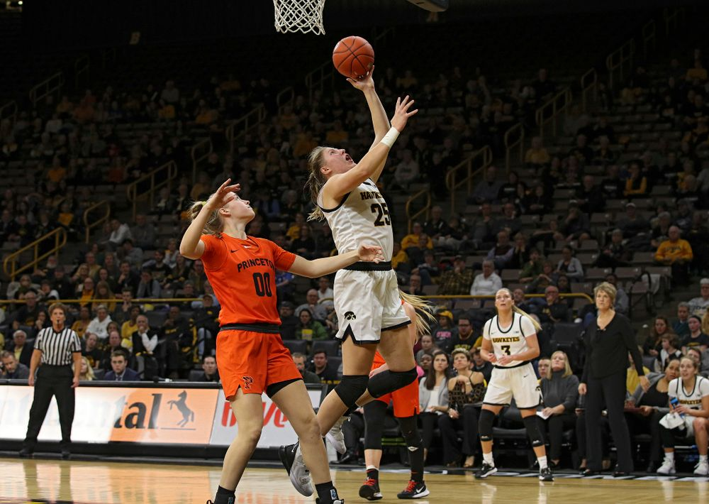 Iowa forward/center Monika Czinano (25) scores a basket during the fourth quarter of their overtime win against Princeton at Carver-Hawkeye Arena in Iowa City on Wednesday, Nov 20, 2019. (Stephen Mally/hawkeyesports.com)