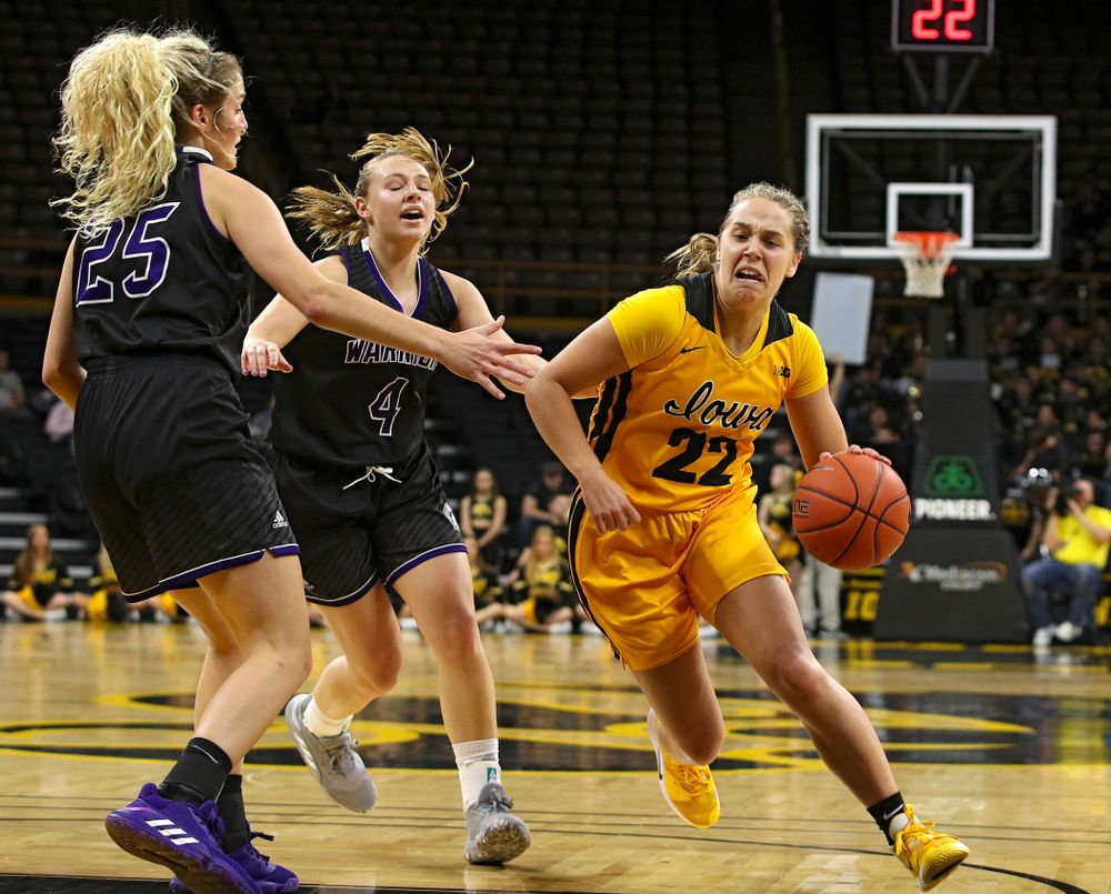 Iowa guard Kathleen Doyle (22) drives with the ball during the fourth quarter of their game against Winona State at Carver-Hawkeye Arena in Iowa City on Sunday, Nov 3, 2019. (Stephen Mally/hawkeyesports.com)