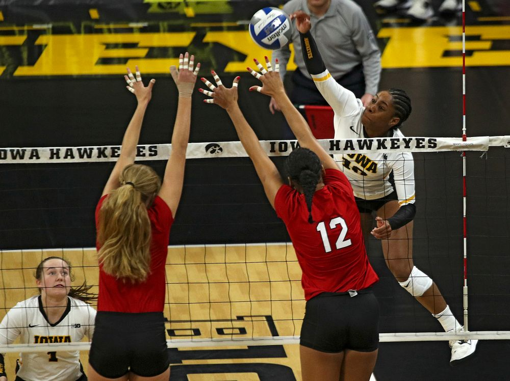 Iowa's Griere Hughes (10) goes up for a kill during the second set of their match against Nebraska at Carver-Hawkeye Arena in Iowa City on Saturday, Nov 9, 2019. (Stephen Mally/hawkeyesports.com)