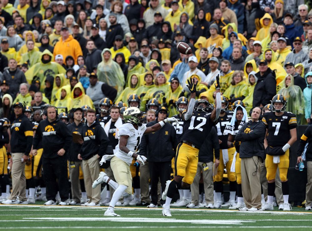 Iowa Hawkeyes wide receiver Brandon Smith (12) against the Purdue Boilermakers Saturday, October 19, 2019 at Kinnick Stadium. (Brian Ray/hawkeyesports.com)