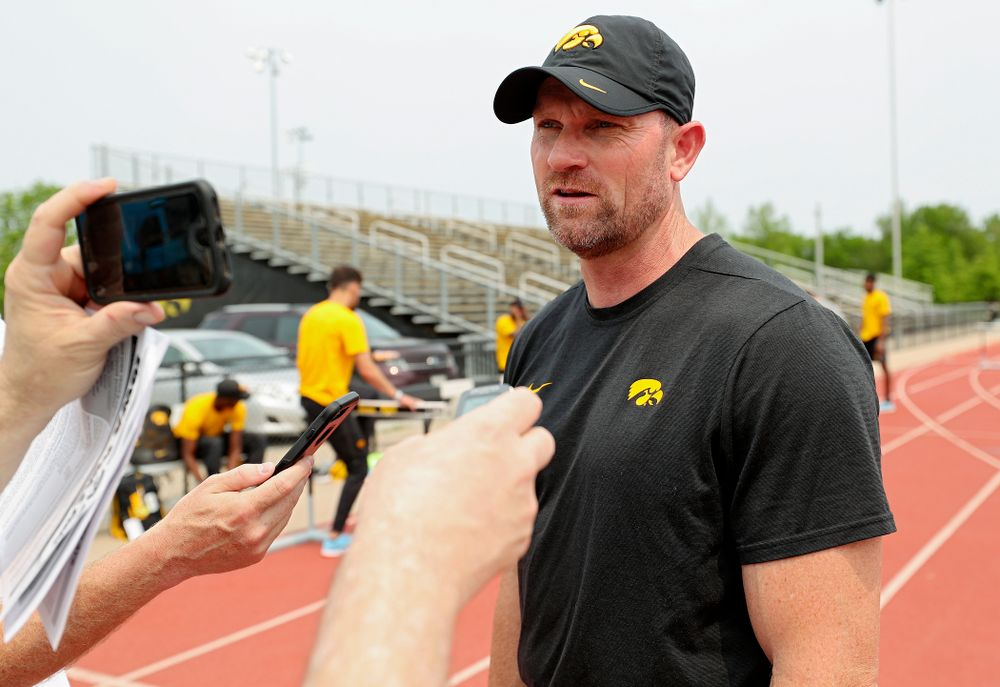 Iowa Director of Track and Field Joey Woody answers questions during a media availability at Francis X. Cretzmeyer Track in Iowa City on Friday, May 31, 2019. (Stephen Mally/hawkeyesports.com)