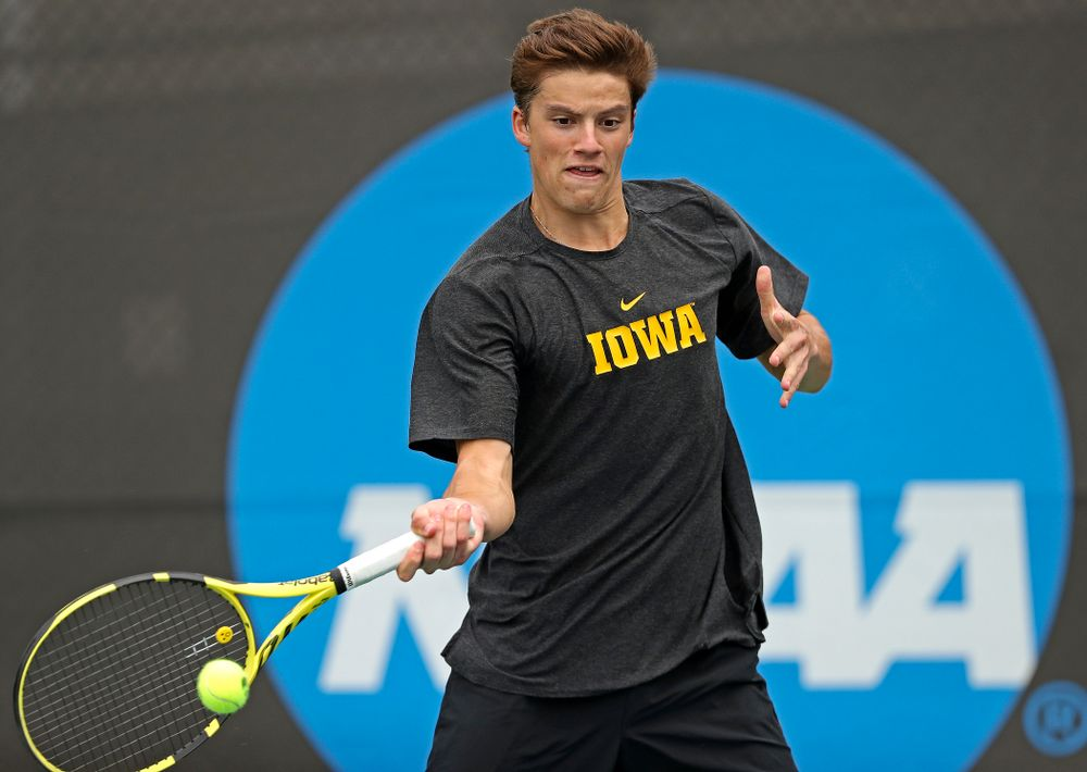 Iowa's Joe Tyler competes during a double match against Ohio State at the Hawkeye Tennis and Recreation Complex in Iowa City on Sunday, Apr. 7, 2019. (Stephen Mally/hawkeyesports.com)