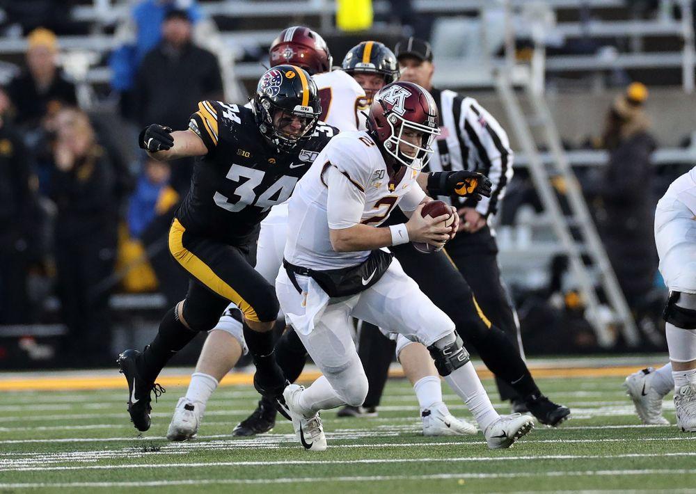 Iowa Hawkeyes linebacker Kristian Welch (34) gets a sack against the Minnesota Golden Gophers Saturday, November 16, 2019 at Kinnick Stadium. (Brian Ray/hawkeyesports.com)