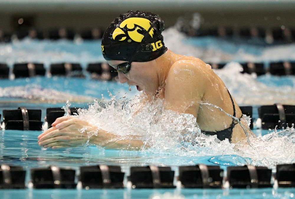 Iowa's Aleksandra Olesiak swims the women's 200-yard breaststroke event during their meet against Michigan State and Northern Iowa at the Campus Recreation and Wellness Center in Iowa City on Friday, Oct 4, 2019. (Stephen Mally/hawkeyesports.com)