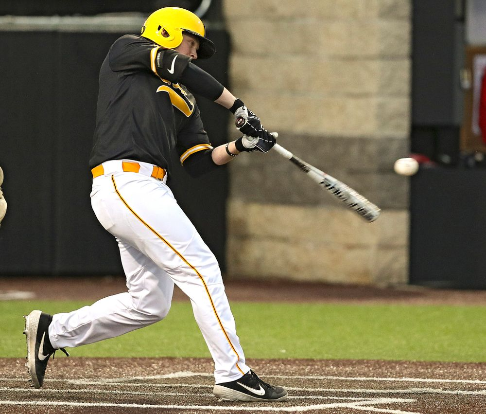 Iowa Hawkeyes first baseman Zeb Adreon (5) bats during the eighth inning of their game against Illinois State at Duane Banks Field in Iowa City on Wednesday, Apr. 3, 2019. (Stephen Mally/hawkeyesports.com)