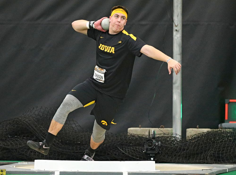 Iowa's Jordan Johnson throws in the men's shot put event during the Larry Wieczorek Invitational at the Hawkeye Tennis and Recreation Complex in Iowa City on Friday, January 17, 2020. (Stephen Mally/hawkeyesports.com)