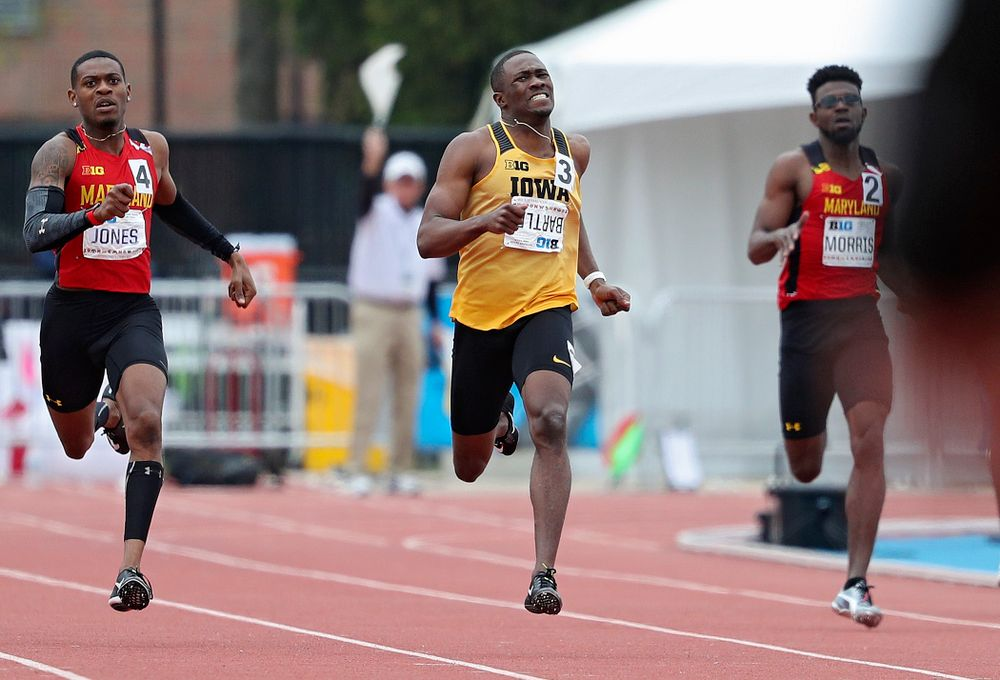 Iowa's Karayme Bartley runs the men's 400 meter event on the third day of the Big Ten Outdoor Track and Field Championships at Francis X. Cretzmeyer Track in Iowa City on Sunday, May. 12, 2019. (Stephen Mally/hawkeyesports.com)