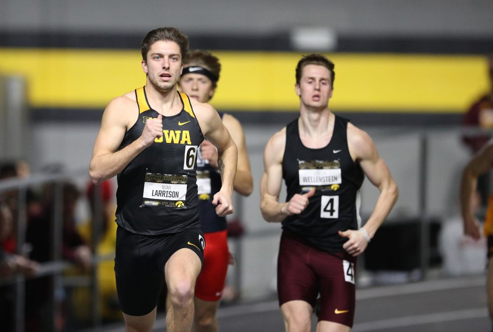 Iowa's Noah Larrison runs the 600 meter premier during the 2019 Larry Wieczorek Invitational Friday, January 18, 2019 at the Hawkeye Tennis and Recreation Center. (Brian Ray/hawkeyesports.com)
