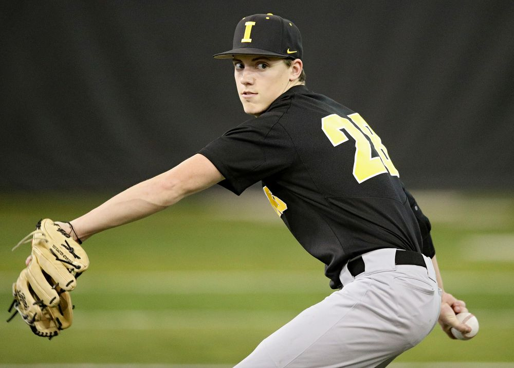 Iowa Hawkeyes pitcher Sam Goodman (28) throws during practice at the Hansen Football Performance Center in Iowa City on Friday, January 24, 2020. (Stephen Mally/hawkeyesports.com)