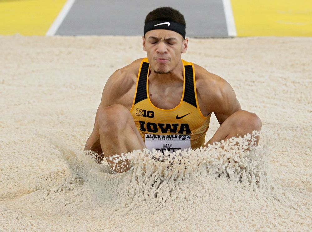 Iowa's Jamal Britt competes in the men's long jump event at the Black and Gold Invite at the Recreation Building in Iowa City on Saturday, February 1, 2020. (Stephen Mally/hawkeyesports.com)