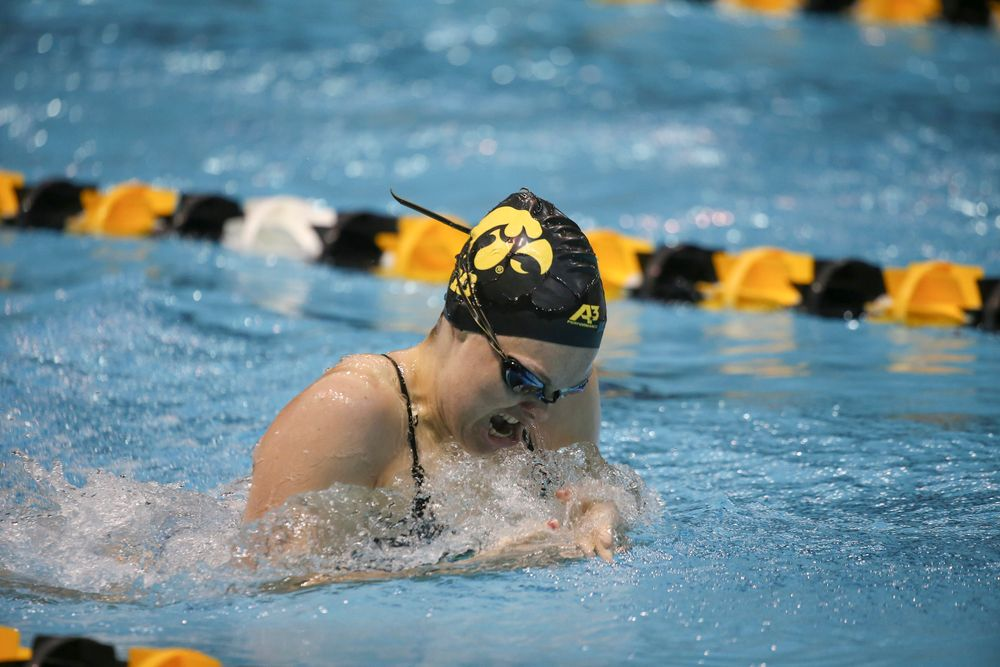 Iowa's Lexi Horner swims the 200-yard breaststroke during the Iowa swimming and diving meet vs Notre Dame and Illinois on Saturday, January 11, 2020 at the Campus Recreation and Wellness Center. (Lily Smith/hawkeyesports.com)