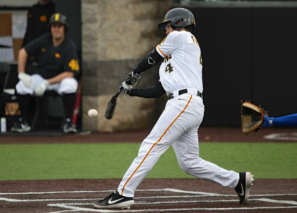 Iowa left fielder Brayden Frazier (4) bats during the fourth inning of their college baseball game at Duane Banks Field in Iowa City on Wednesday, March 11, 2020. (Stephen Mally/hawkeyesports.com)