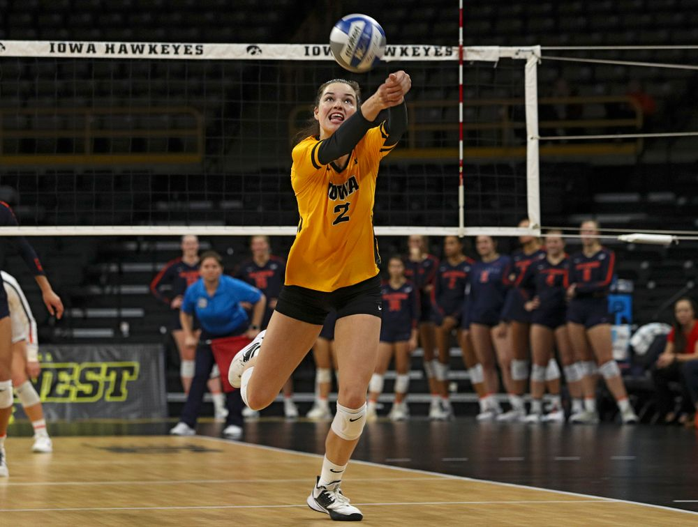 Iowa's Courtney Buzzerio (2) reaches a ball during the first set of their match against Illinois at Carver-Hawkeye Arena in Iowa City on Wednesday, Nov 6, 2019. (Stephen Mally/hawkeyesports.com)