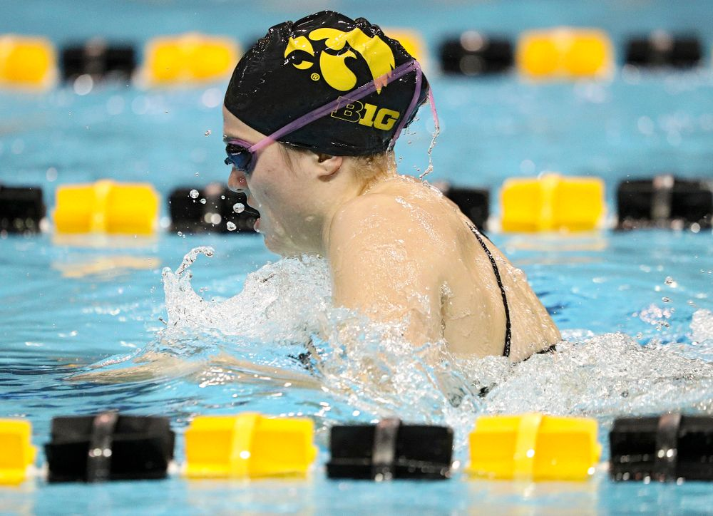 Iowa's Alleyna Thomas swims the breaststroke section of the 100-yard individual medley event during their meet against Michigan State at the Campus Recreation and Wellness Center in Iowa City on Thursday, Oct 3, 2019. (Stephen Mally/hawkeyesports.com)