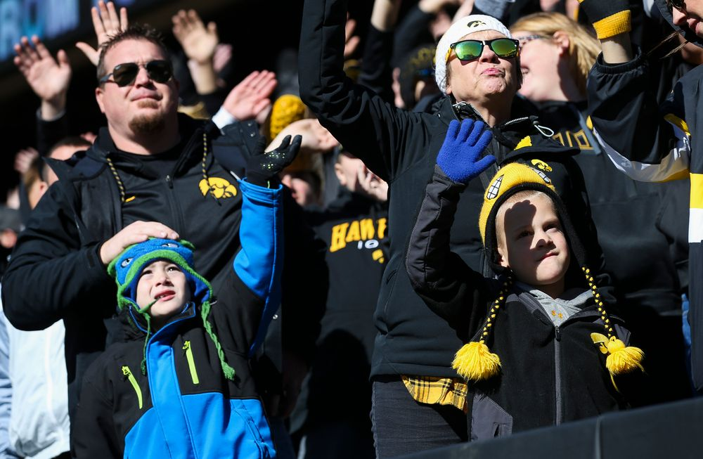 Iowa Hawkeyes fans wave to the Stead Family Childrens Hospital after the first quarter during a game against Maryland at Kinnick Stadium on October 20, 2018. (Tork Mason/hawkeyesports.com)