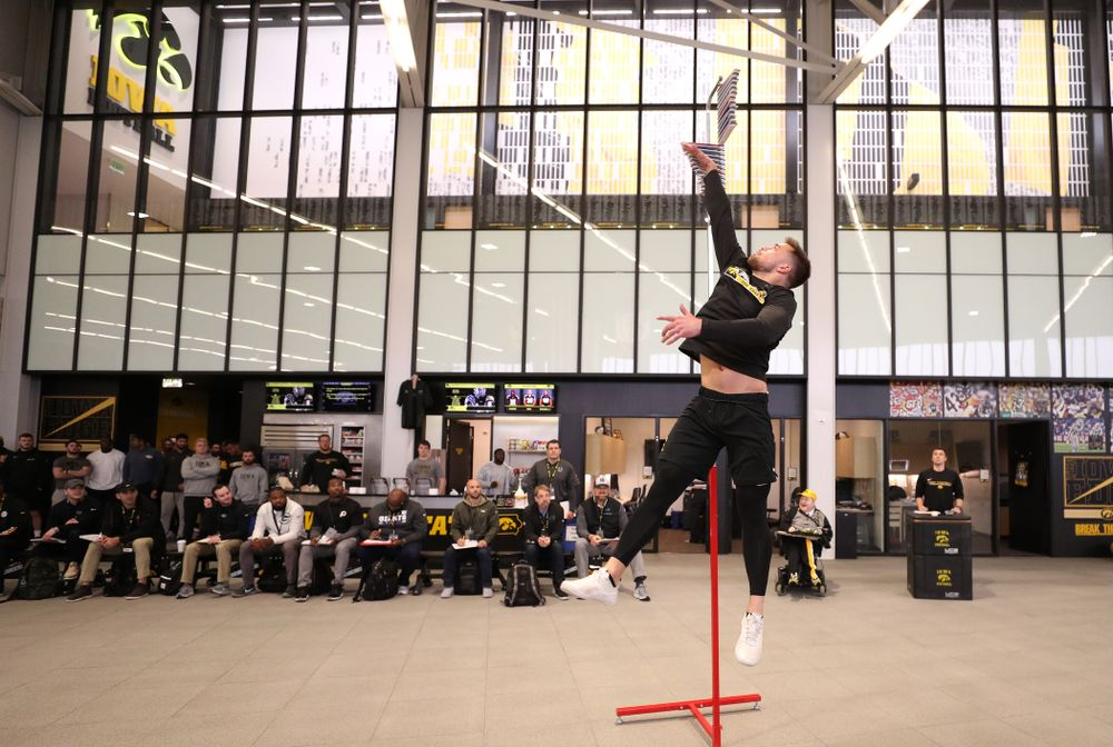 Iowa Hawkeyes wide receiver Nick Easley (84) during the teamÕs annual Pro Day Monday, March 25, 2019 at the Hansen Football Performance Center. (Brian Ray/hawkeyesports.com)