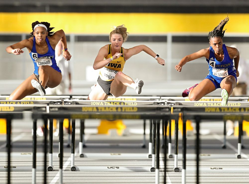 Iowa's Sydney Winger runs the women's 60 meter hurdles event at the Black and Gold Invite at the Recreation Building in Iowa City on Saturday, February 1, 2020. (Stephen Mally/hawkeyesports.com)