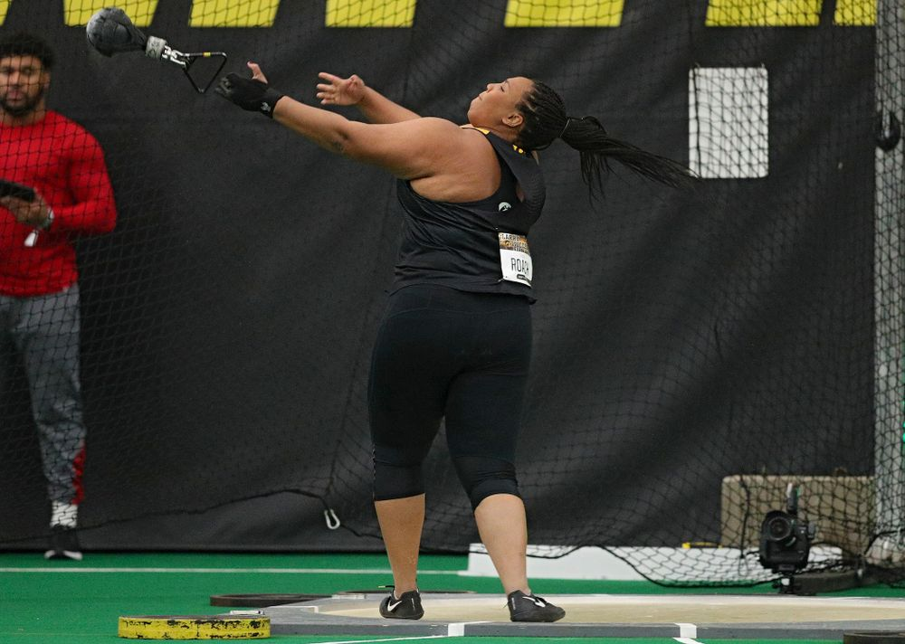 Iowa's Ianna Roach throws in the women's weight throw event during the Larry Wieczorek Invitational at the Hawkeye Tennis and Recreation Complex in Iowa City on Friday, January 17, 2020. (Stephen Mally/hawkeyesports.com)