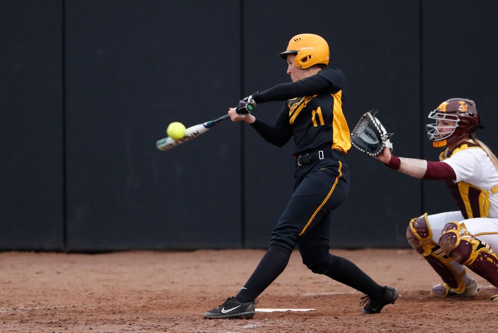 Iowa Hawkeyes first baseman Mallory Kilian (11) against the Minnesota Golden Gophers Friday, April 13, 2018 at Bob Pearl Field. (Brian Ray/hawkeyesports.com)