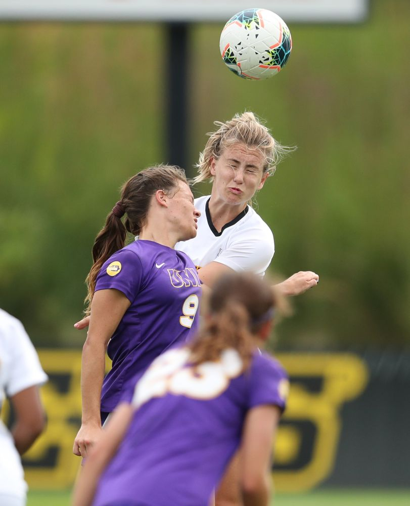 Iowa Hawkeyes defender Sara Wheaton (24) during a 6-1 win over Northern Iowa Sunday, August 25, 2019 at the Iowa Soccer Complex. (Brian Ray/hawkeyesports.com)