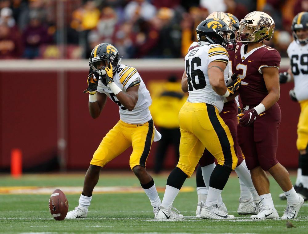 Iowa Hawkeyes wide receiver Ihmir Smith-Marsette (6) reruns a kick against the Minnesota Golden Gophers Saturday, October 6, 2018 at TCF Bank Stadium. (Brian Ray/hawkeyesports.com)