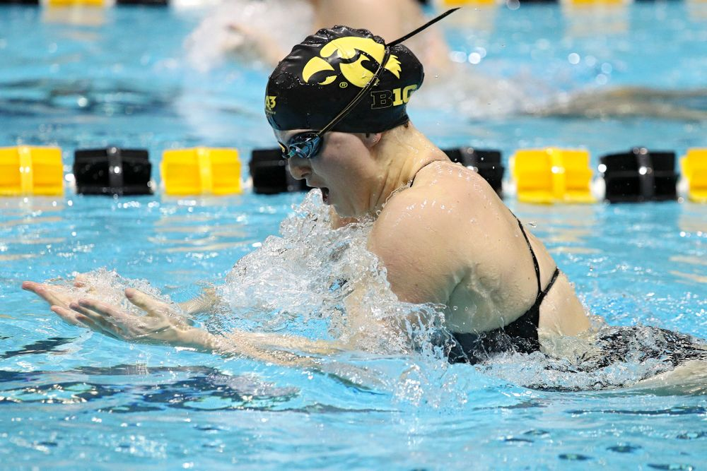 Iowa's Cc Crane swims the breaststroke section of the 100-yard individual medley event during their meet against Michigan State at the Campus Recreation and Wellness Center in Iowa City on Thursday, Oct 3, 2019. (Stephen Mally/hawkeyesports.com)