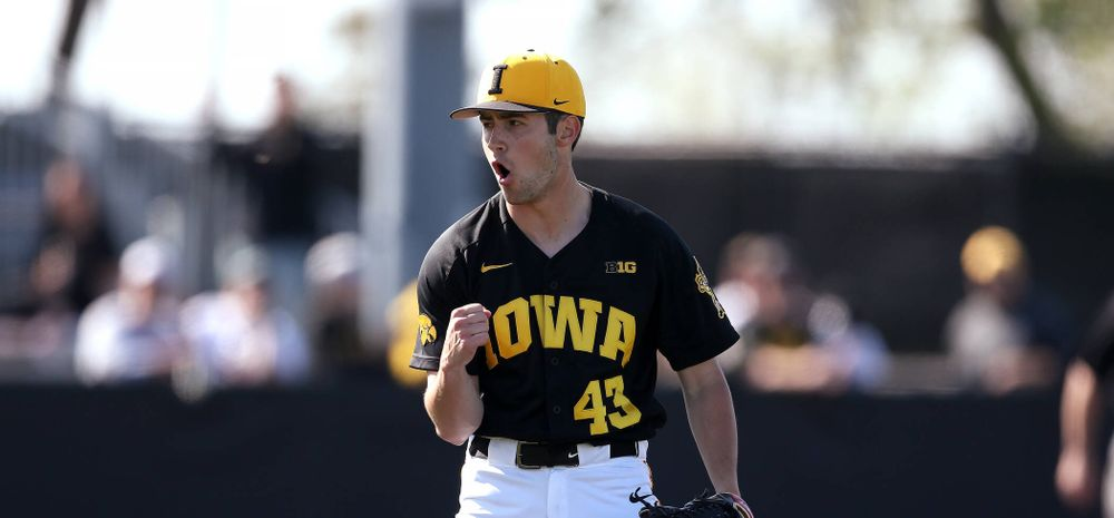 Iowa Hawkeyes Grant Leonard (43) reacts after recording the final out during game two against UC Irvine Saturday, May 4, 2019 at Duane Banks Field. (Brian Ray/hawkeyesports.com)