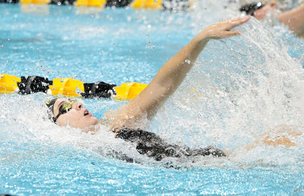 Iowa's Maddie Ziegert swims the women's 50-yard backstroke event during their meet against Michigan State at the Campus Recreation and Wellness Center in Iowa City on Thursday, Oct 3, 2019. (Stephen Mally/hawkeyesports.com)