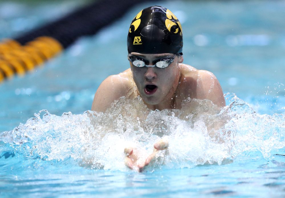 Iowa's Caleb Babb competes in the 100-yard breaststroke on the third day at the 2019 Big Ten Swimming and Diving Championships Thursday, February 28, 2019 at the Campus Wellness and Recreation Center. (Brian Ray/hawkeyesports.com)