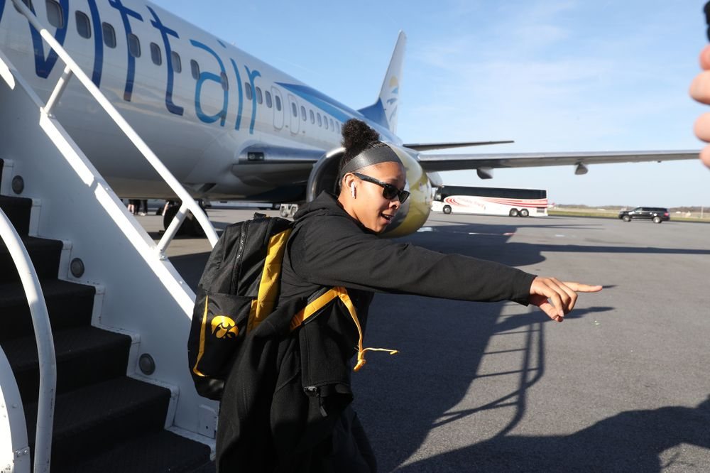 Iowa Hawkeyes guard Tania Davis (11) arrives in Greensboro, NC for the Regionals of the 2019 NCAA Women's Basketball Championships Thursday, March 28, 2019 at the Eastern Iowa Airport. (Brian Ray/hawkeyesports.com)