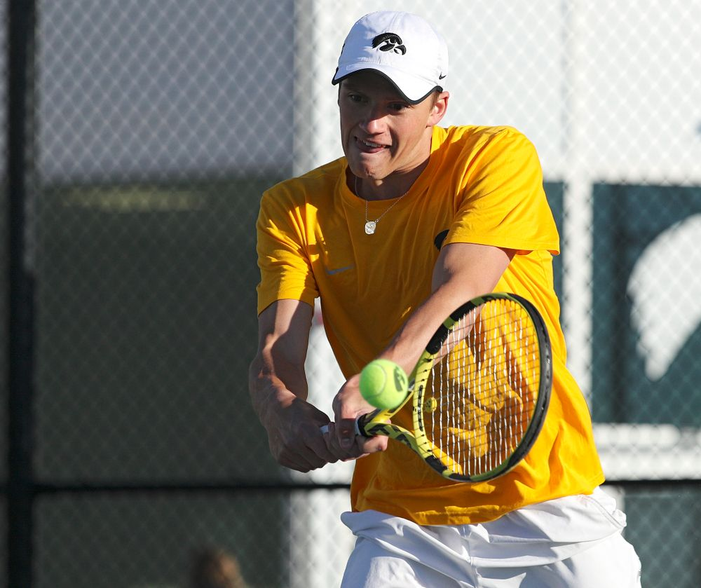 Iowa's Joe Tyler during their doubles match again Michigan State at the Hawkeye Tennis and Recreation Complex in Iowa City on Friday, Apr. 19, 2019. (Stephen Mally/hawkeyesports.com)