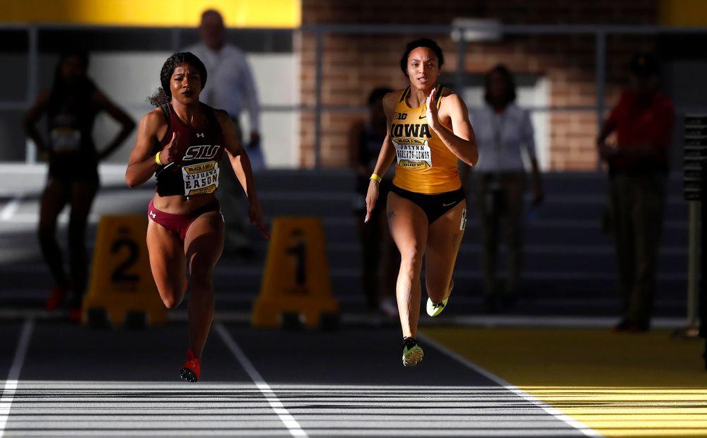 Jalynn Roberts-Lewis competes in 60 meter dash