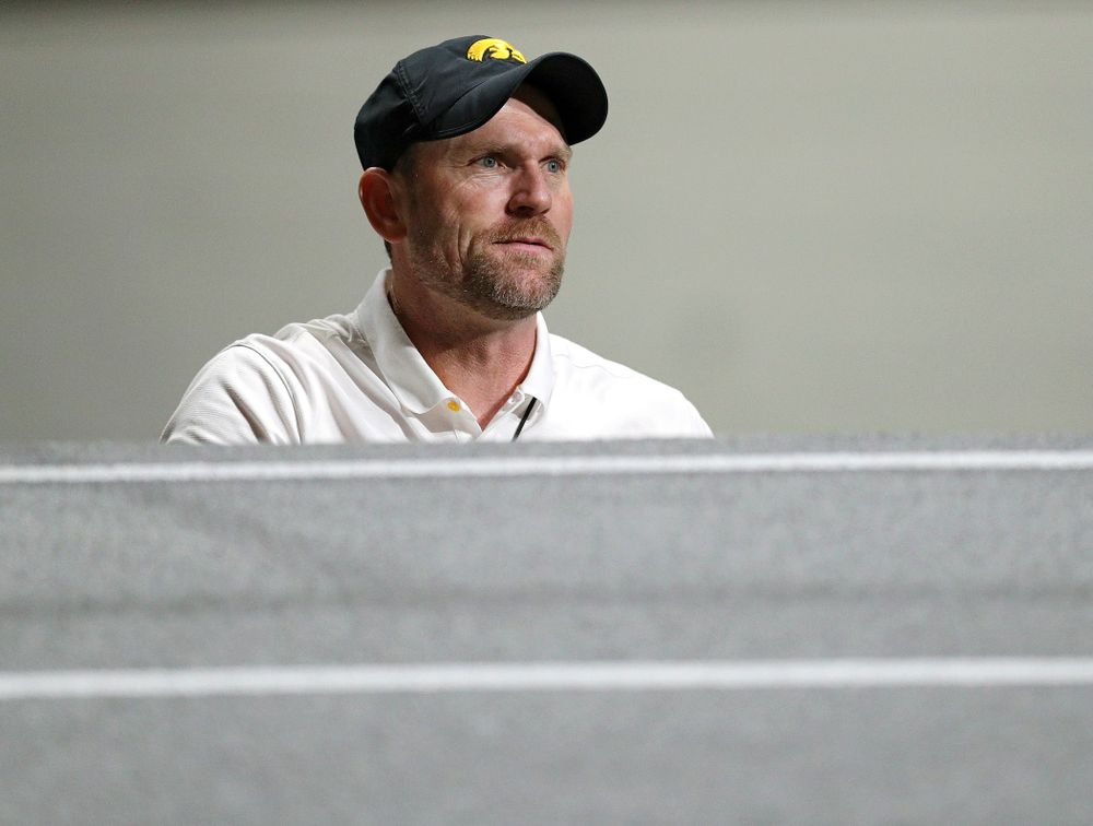 Iowa director of Track and Field Joey Woody looks on during the women's 1 mile run event during the Jimmy Grant Invitational at the Recreation Building in Iowa City on Saturday, December 14, 2019. (Stephen Mally/hawkeyesports.com)