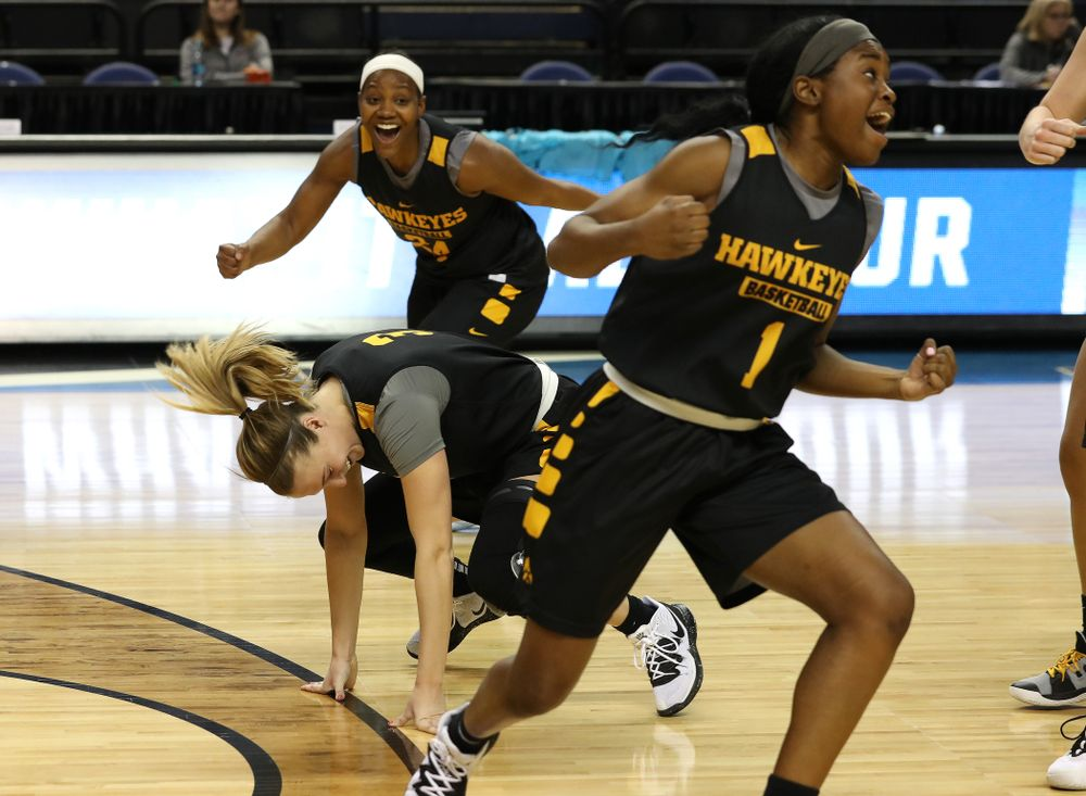 Iowa Hawkeyes guard Makenzie Meyer (3) during media and practice as they prepare for their Sweet 16 matchup against NC State Friday, March 29, 2019 at the Greensboro Coliseum in Greensboro, NC.(Brian Ray/hawkeyesports.com)