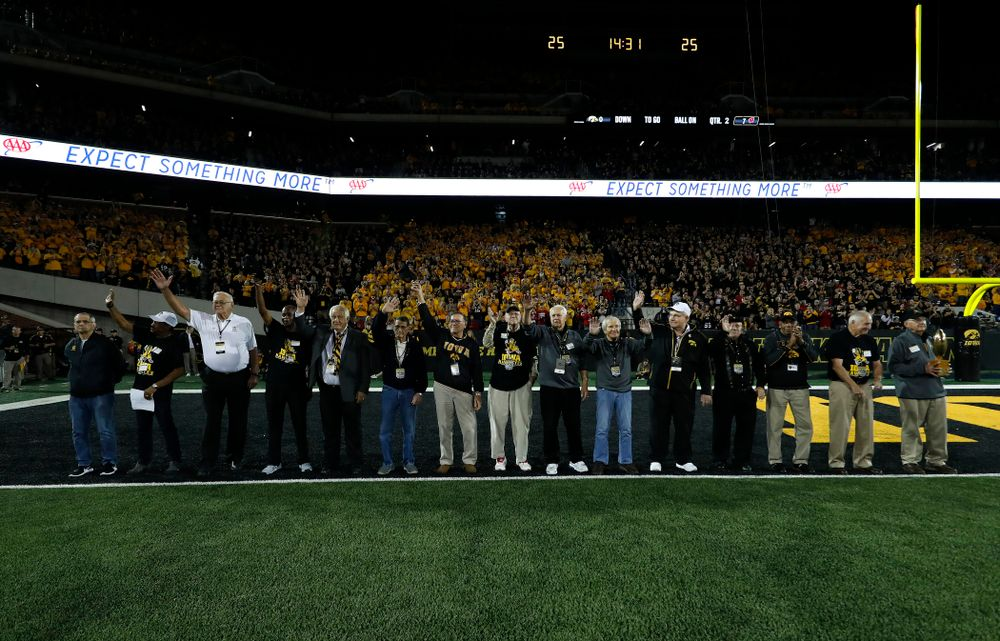 The 19058 National Championship team is introduced during  the Iowa Hawkeyes game against the Wisconsin Badgers Saturday, September 22, 2018 at Kinnick Stadium. (Brian Ray/hawkeyesports.com)