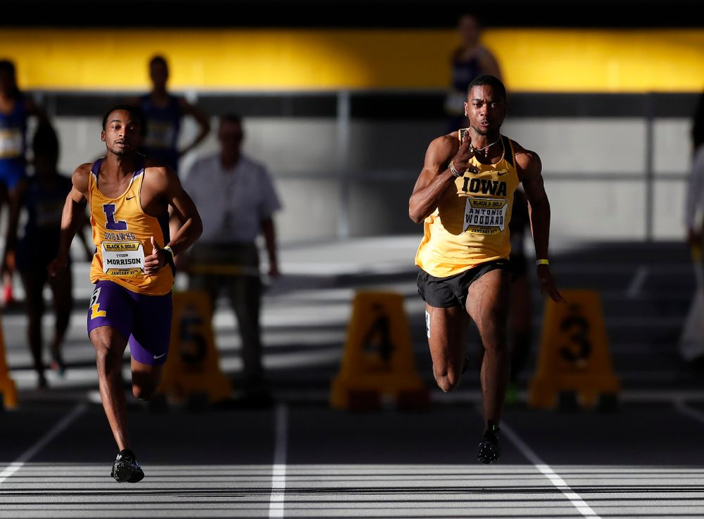 Antonio Woodard competes in 60 meter dash