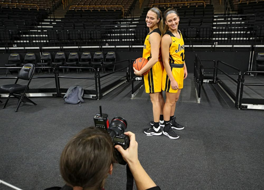 Iowa guard Makenzie Meyer (3) and guard Megan Meyer (11) pose for a picture during Iowa Women's Basketball Media Day at Carver-Hawkeye Arena in Iowa City on Thursday, Oct 24, 2019. (Stephen Mally/hawkeyesports.com)