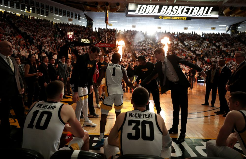 Iowa Hawkeyes guard Joe Toussaint (1) is introduced before their game against the Illinois Fighting Illini Sunday, February 2, 2020 at Carver-Hawkeye Arena. (Brian Ray/hawkeyesports.com)