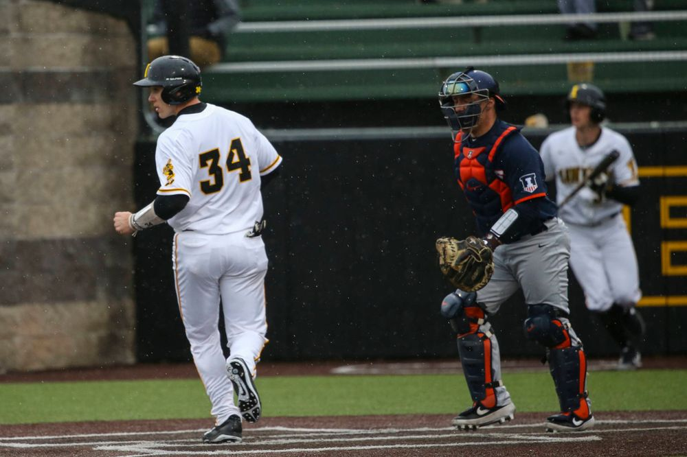 Iowa catcher Austin Martin  at game 1 vs Illinois on Friday, March 29, 2019 at Duane Banks Field. (Lily Smith/hawkeyesports.com)