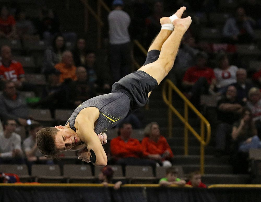 Iowa's Evan Davis competes in the floor during the first day of the Big Ten Men's Gymnastics Championships at Carver-Hawkeye Arena in Iowa City on Friday, Apr. 5, 2019. (Stephen Mally/hawkeyesports.com)