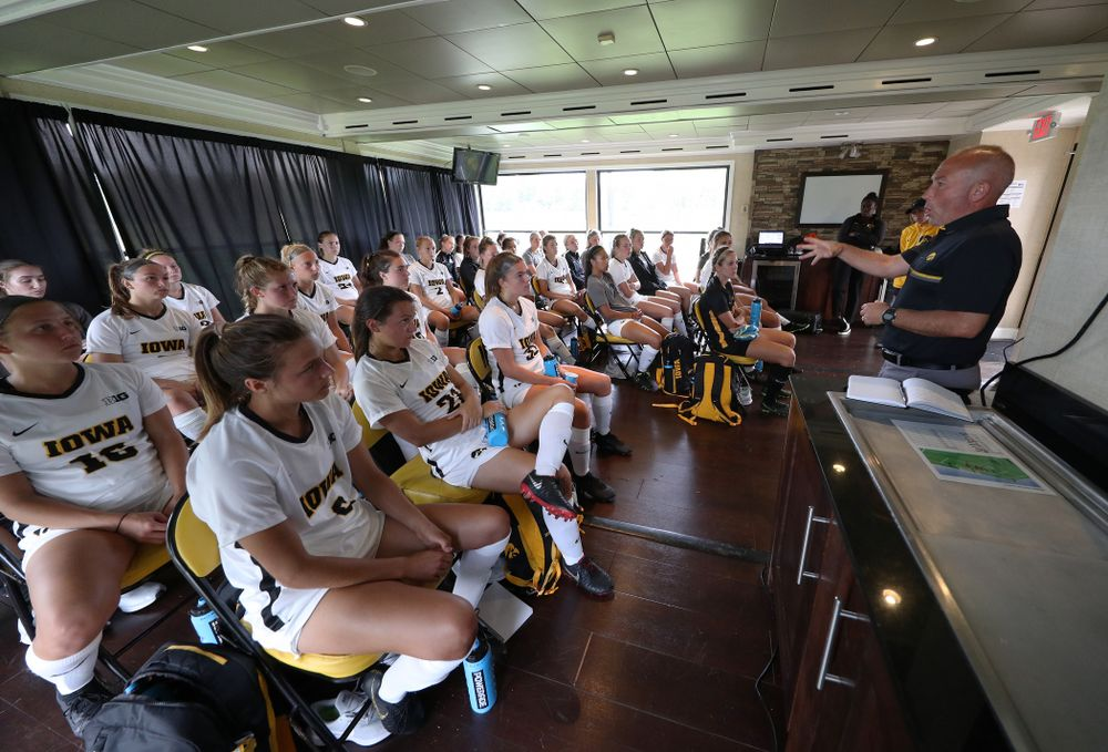 Iowa Hawkeyes head coach Dave DiIanni talks to the team  during halftime of a 6-1 win over Northern Iowa Sunday, August 25, 2019 at the Iowa Soccer Complex. (Brian Ray/hawkeyesports.com)