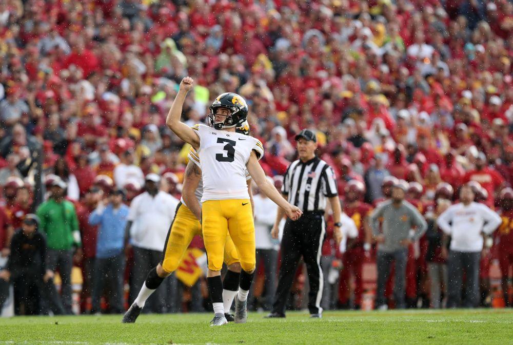 Iowa Hawkeyes place kicker Keith Duncan (3) kicks a field goal against the Iowa State Cyclones Saturday, September 14, 2019 at Jack Trice Stadium in Ames, Iowa. (Brian Ray/hawkeyesports.com)