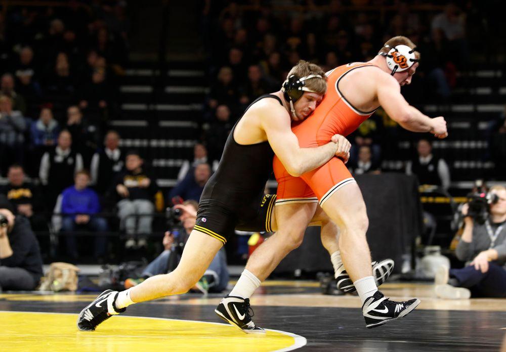 Iowa's Mitch Bowman Wrestles Oklahoma State's Keegan Moore at 184 pounds