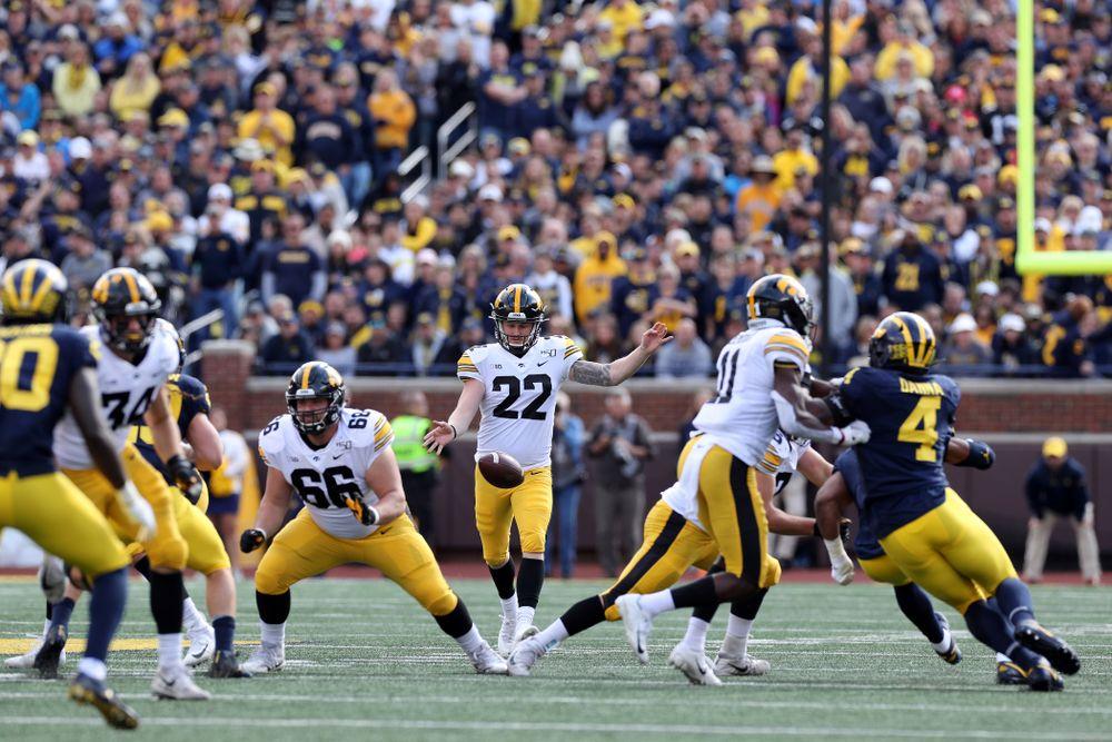 Iowa Hawkeyes punter Michael Sleep-Dalton (22) against the Michigan Wolverines Saturday, October 5, 2019 at Michigan Stadium in Ann Arbor, MI. (Brian Ray/hawkeyesports.com)