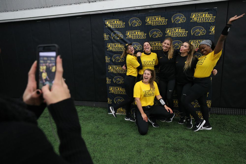 The Iowa Hawkeyes pose for a photo during their annual media day Friday, February 1, 2019 at the Hawkeye Tennis and Recreation Complex. (Brian Ray/hawkeyesports.com)