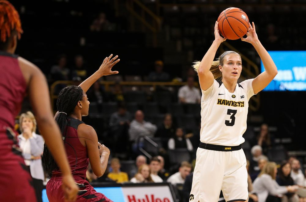 Iowa Hawkeyes guard Makenzie Meyer (3) looks to pass during a game against North Carolina Central at Carver-Hawkeye Arena on November 17, 2018. (Tork Mason/hawkeyesports.com)