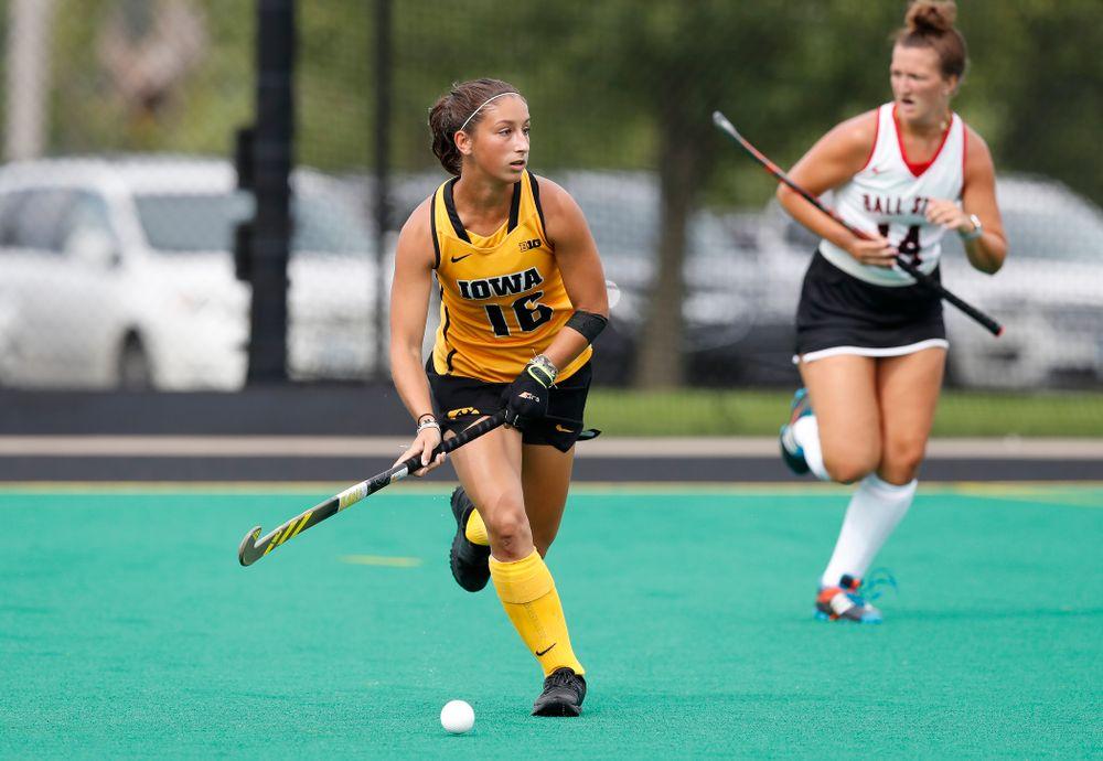 Iowa Hawkeyes Isabella Solaroli (16) against Ball State Sunday, September 2, 2018 at Grant Field. (Brian Ray/hawkeyesports.com)